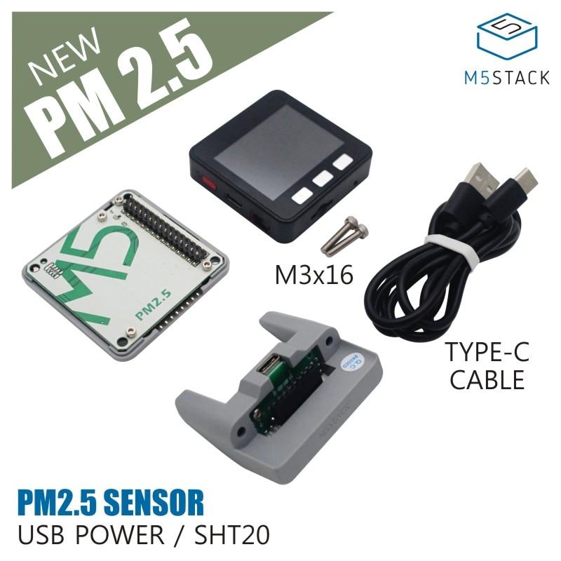 New Arrival! M5Stack PM 2.5 Air Quality Kit (PMSA003 + SHT20)SENSOR USB POWER SET WITH BASIC CORE