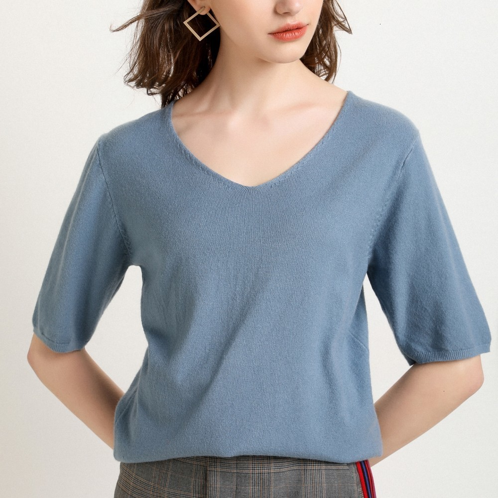 Spring 2019 Short Sleeve Short Sleeve Shirt Women's Shirt Women's Shirt Neck Tight Pants