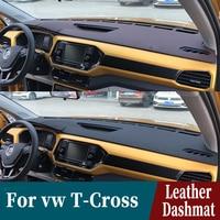 Para volkswagen vw t cross 2018 2019 2020 couro dashmat dashmat painel capa almofada do carro traço esteira pára sol tapete personalizado acessórios|Tapete anti-sujeira p/ carros| |  -