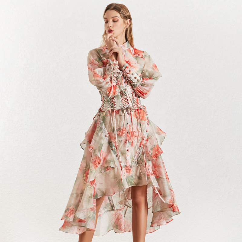 Image 3 - TWOTINSTYLE Vintage Print Women's Dress Stand Collar Lantern Sleeves Bandages High Waist Asymmetrical Print Dresses Female 2019-in Dresses from Women's Clothing