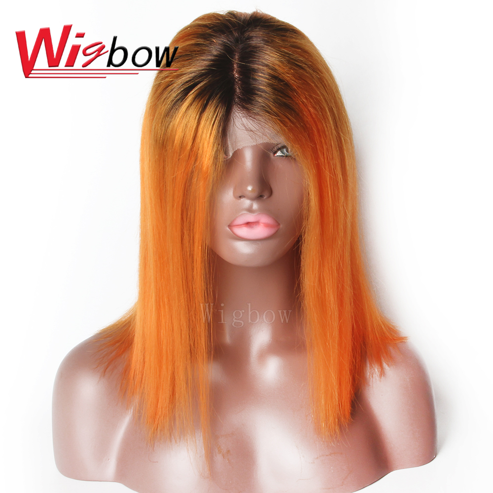 Short Straight Brazilian 1B Orange Red Remy Human Hair Wig Lace Front Wig Ombre Colored Wigs 8-14 Inches For Women Wigbow Hair