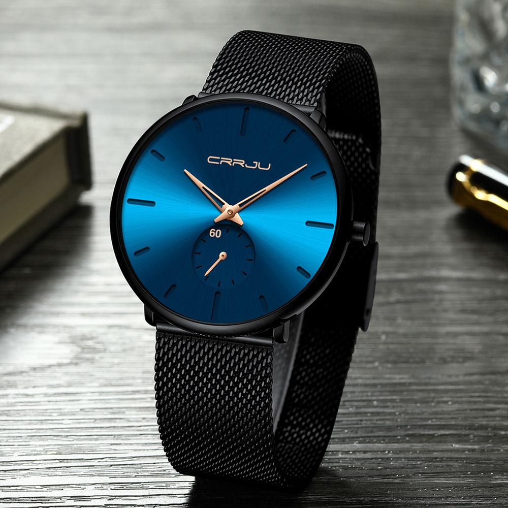 H468c3c35110b4931b716ff9b32abfbd75 CRRJU Ultra Thin Blue Stainless steel Quartz Watches Men Simple Fashion Business Japan Wristwatch Clock Male Relogio Masculino