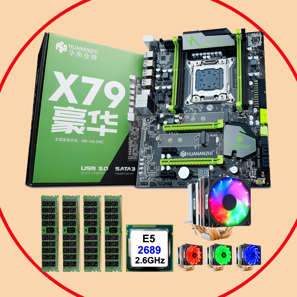 HUANANZHI X79 Pro Motherboard Bundle Discount X79 LGA2011 Motherboard With M.2 Slot CPU Xeon E5 2689 With Cooler RAM 64G(4*16G)