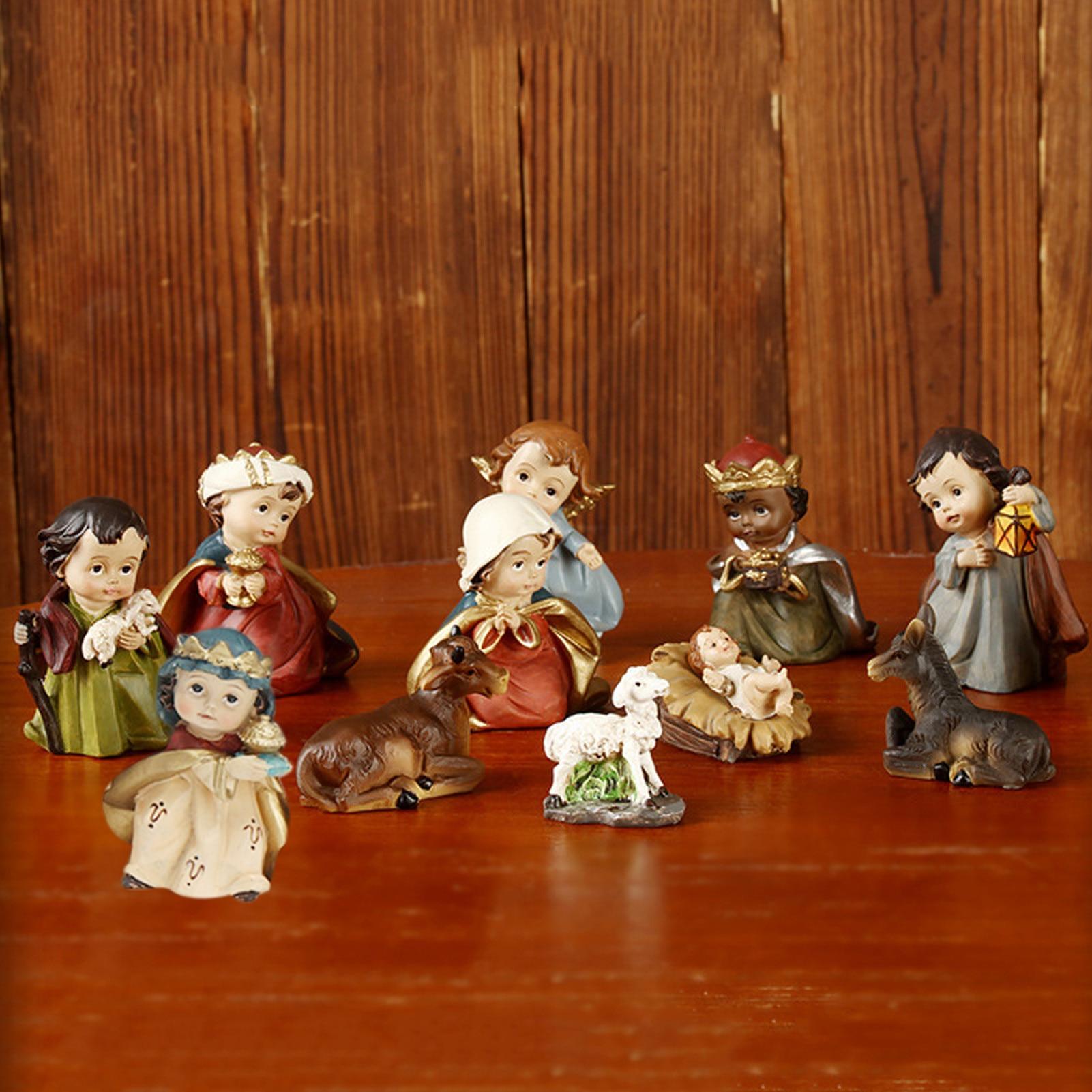 Capable 11pcs Nativity Scene Set Statue Christmas Crib Figurines Baby Jesus Manger Miniatures Ornament Church Catholic Gift Home Decor Pure And Mild Flavor