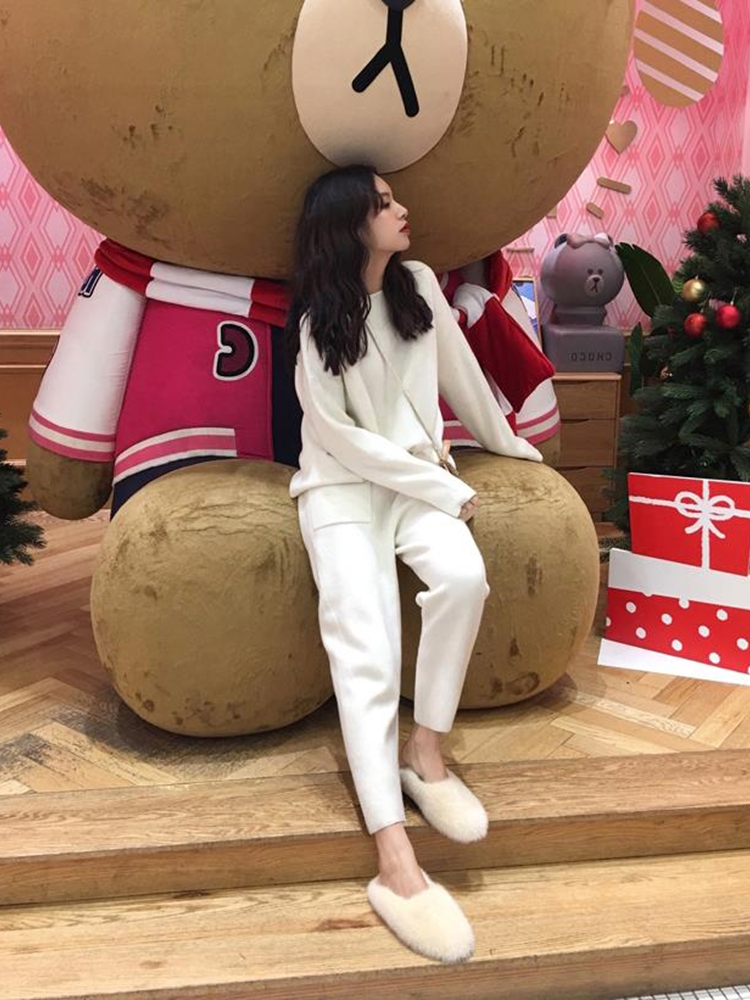 Tracksuit Sweater Knitted-Sets Sporting-Suit Two-Piece Female Autumn Fashion Women Spring