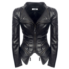 Gothic Women coat Black Fashion Motorcycle Outerwear Faux Leather PU Ja