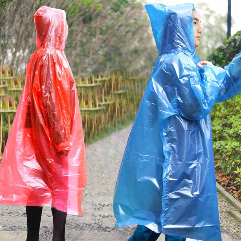 Capa de chuva descartável adulto emergência à prova dponágua capa poncho viagem acampamento deve capa de chuva unisex 2019