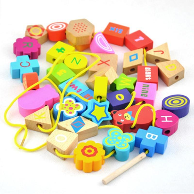 Baby Wooden Beads Toys Set DIY Shape Digital Beading Toy Kids Stringing Threading Beads Game Montessori Toys Early Education