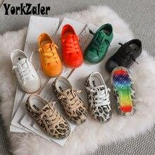 Jorkzaler/Повседневные девочки/мальчики, Холщовый принт, леопардовая модная детская обувь, Нескользящие осенние детские кроссовки, обувь