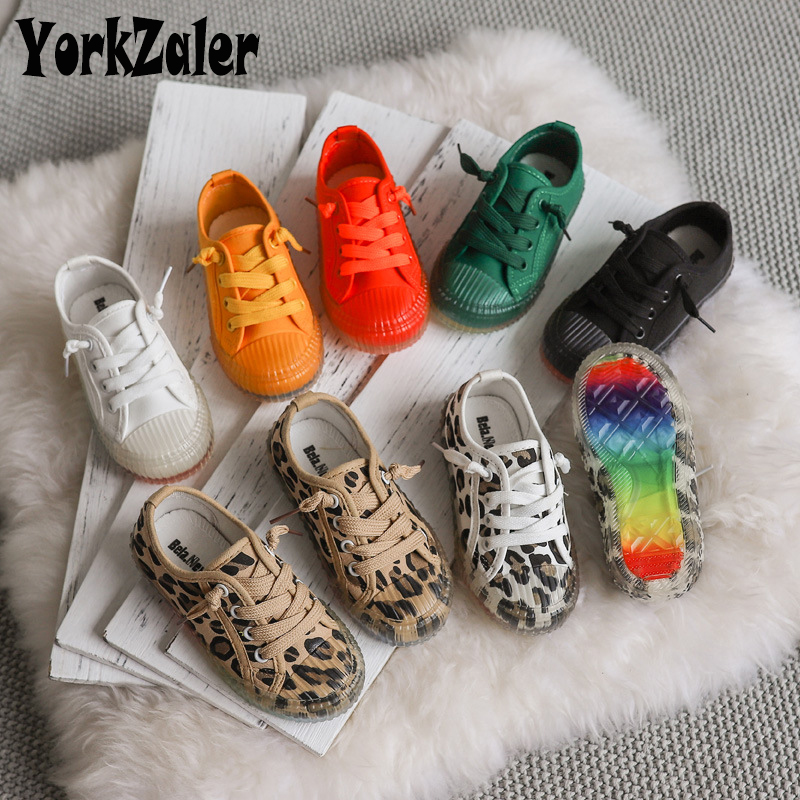 Yorkzaler Casual Girls Boys Canvas Shoes Printed Leopard Solid Fashion Children Shoes Non-slip Autumn Kids Sneakers Spotrt Shoes