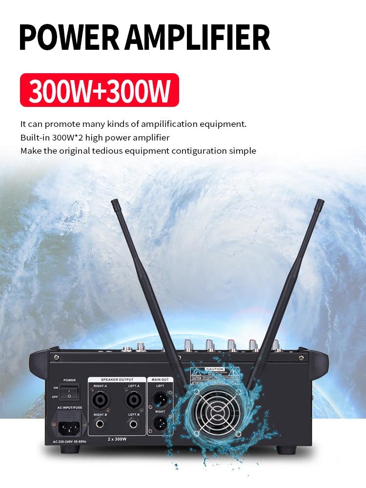 Image 2 - TKL 6 Channel Audio Mixers with 300Wx2 Power Amplifier Wireless Microphone Effector REC Sound Mixing MP3 Bluetooth DJ mixerDJ Equipment   -