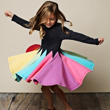 New Fashion Fall Winter Rainbow Long Sleeve Cotton Color Block Cute Baby Girl Cotton Party Dresses for Kids Princess Girls Dress miss haiwo fall kids dresses for girls pure cotton baby girl clothes stripes rainbow color girls long dress children s clothing