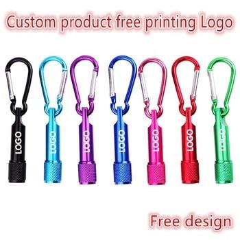 100PCS Custom Free Print Logo Aluminum Mini LED Flashlight Carabiner Mountaineering Buckle Torch Clip Keychain Camping laser