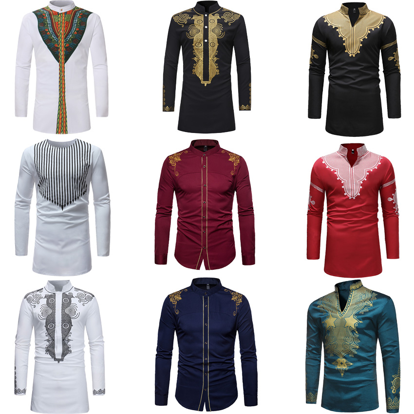 African Dresses For Men 3D Dashiki Print Full Sleeve Shirt Bazin V-neck T-shirt Male Traditional Ethnic Tribe Style Tops Outfit