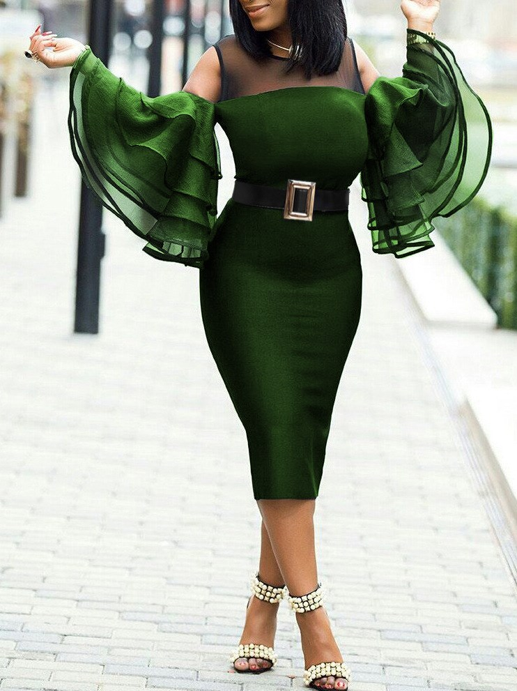 Plus Size Women Cold Shoulder Party Mesh Pencil <font><b>Dress</b></font> Summer <font><b>Sexy</b></font> Flare Sleeve Bodycon Midi <font><b>Dress</b></font> Slim Fit Stitching <font><b>Dress</b></font> <font><b>6XL</b></font> image