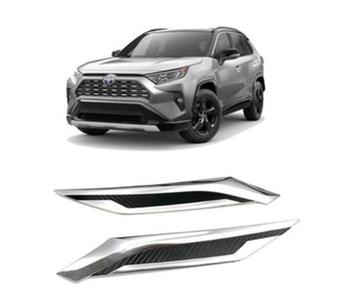 2pcs/Set  ABS Chrome Car Front Engine  Hoods Side Wing  Emblem Badge sticker Trim Cover For Toyota RAV4 2019 2020