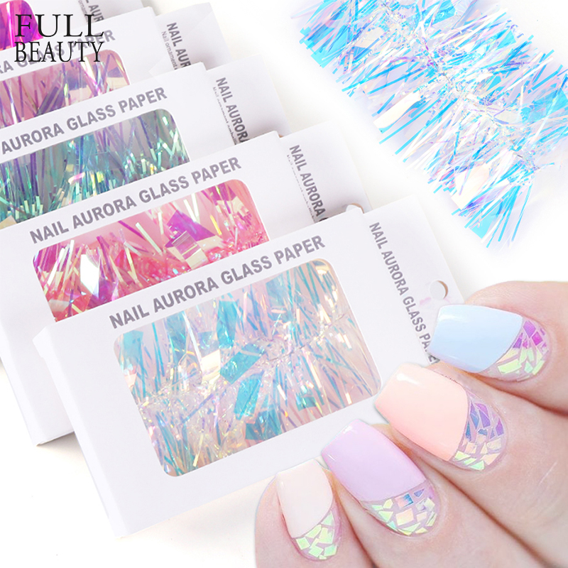 1 Case Holo Glass Nail Paper Sticker Gradient Aurora Transfer Foils Shinning Mirror Wraps Nail Art Decoration 3D Designs CH1567