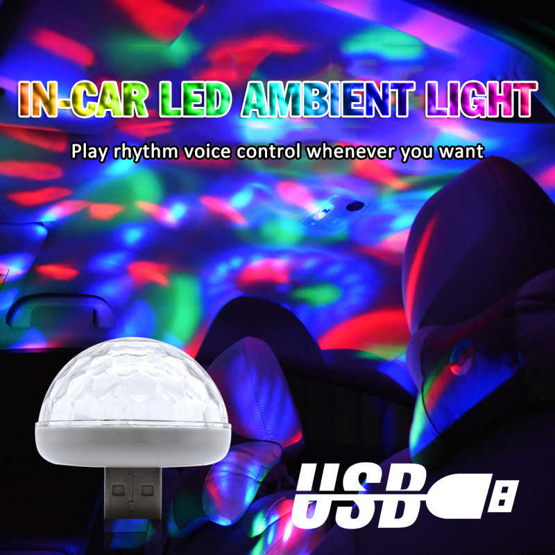 Mini USB RGB LED Disco Stage Light Ball Atmosphere Light Multi Color Music Sound Control Lamp Interior Car Ambient Decorative