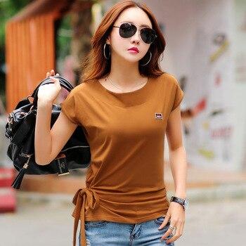 цена Ropa Moda Mujer 2020 Summer Cotton White T Shirt Bow Femme Korean Fashion Tops Tee Shirt Women Tshirt Batwing Sleeve Clothing онлайн в 2017 году