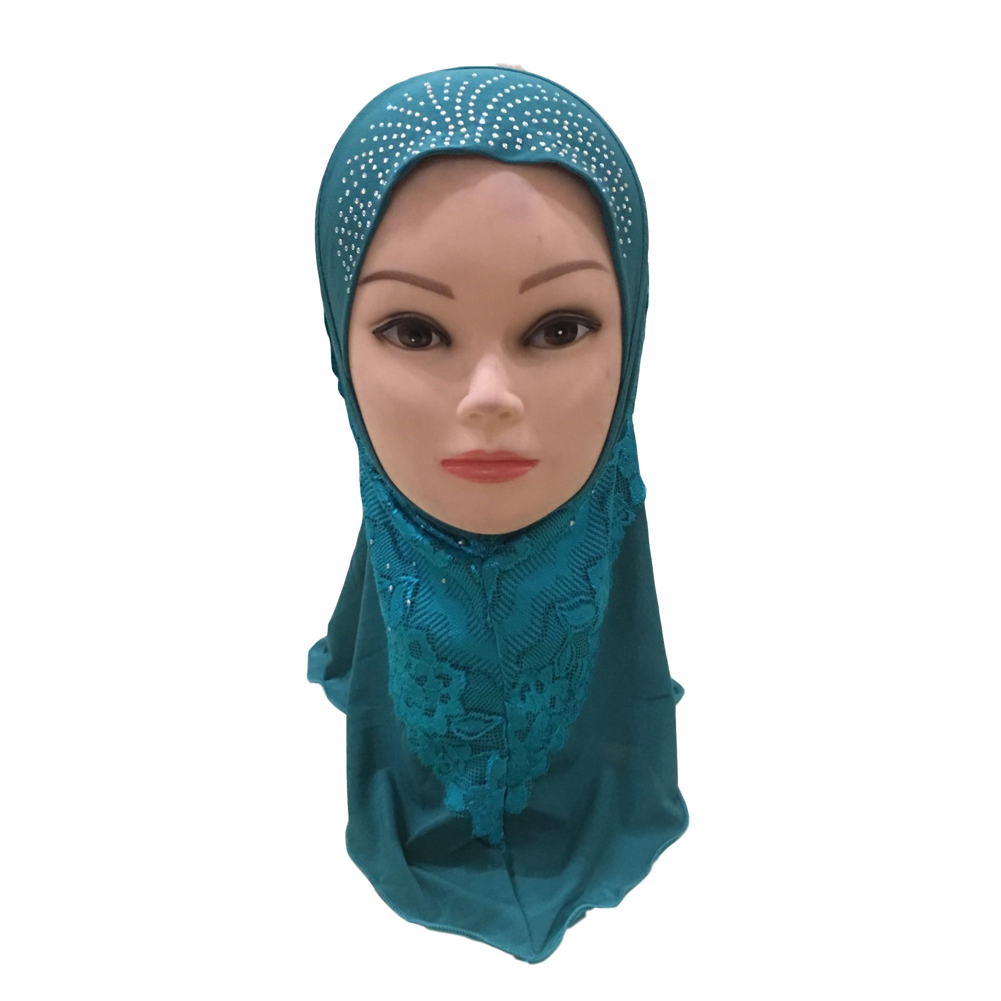 Image 4 - Muslim Girls Hijab Kids Hijab Islamic Fashion Scarf Shawls with  Beautiful Lace Diamond WholesaleIslamic Clothing