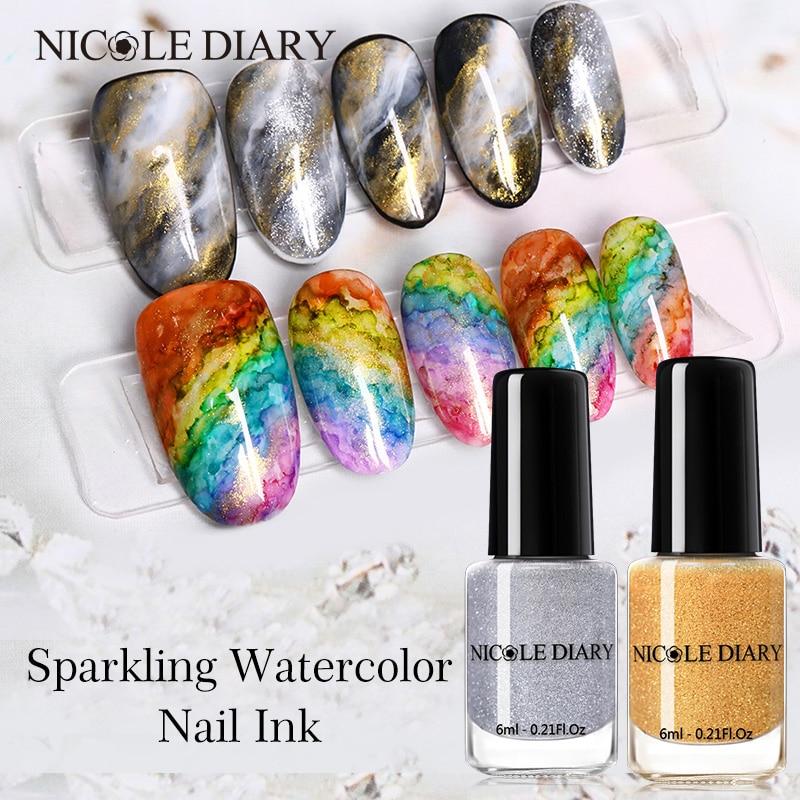 NICOLE DIARY Watercolor Ink Nail Polish Glitter Blooming Polish UV Gel Smoke Effect Marble Smudge Liquid Gradient Beauty Tools