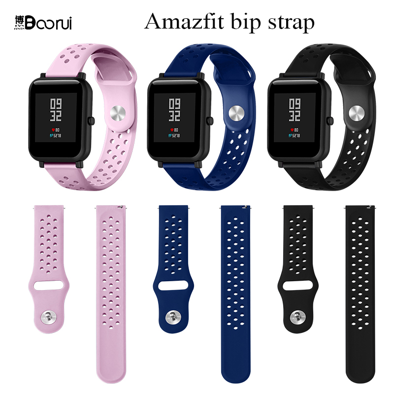 BOORUI Amazfit Bip Strap Sports Breathable Silicone 20mm Strap  For Xiaomi Huami Amazfit Bip BIT Lite Youth Smart Watch