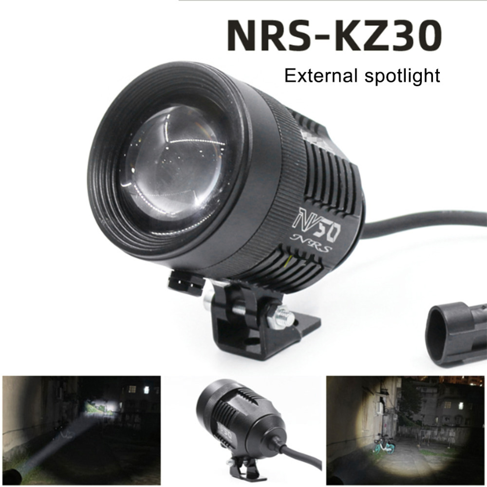 Motorcycle Spotlight 12V 30W Adjustment Laser Barrel External Spotlight Integrated LED Lamp Motorbike External Headlight