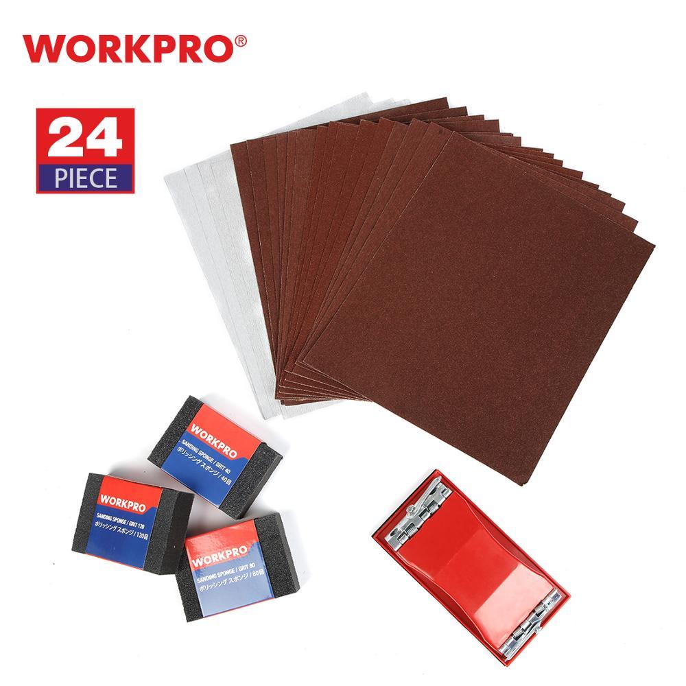 WORKPRO 24PC Sandpaper Multi Sanding Paper Abrasive Tools for Wood Metal Paint Sand Paper Set