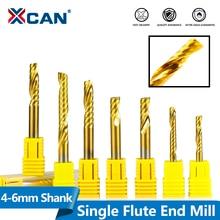 XCAN Fresa de extremo de flauta única, vástago de 4/6mm, broca de grabado CNC de carburo, cortador rotatorio de metales de vástago molinillos con extremo en espiral recubierta de estaño, 1 unidad