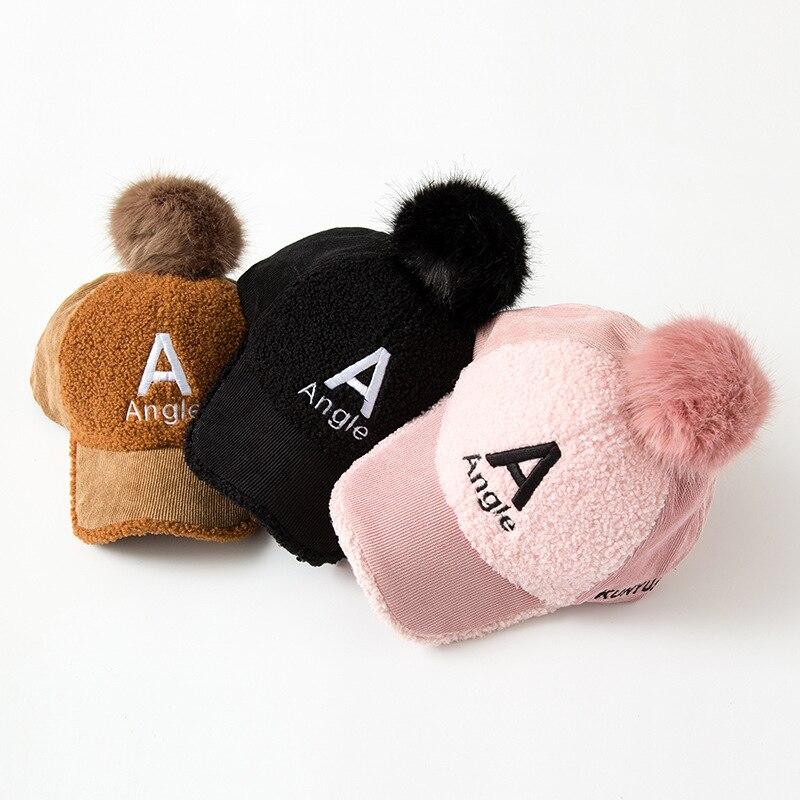 CHILDREN'S Hat 2019 Winter New Style Autumn And Winter Baby Cricket-cap Baseball Cap Women's Children Furry Ball Warm Hat