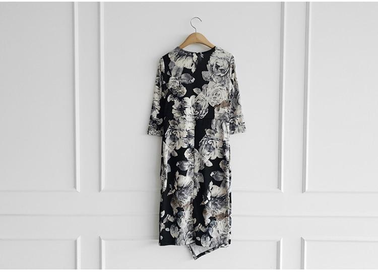 Floral Print Half Sleeve Sheath Knee-length Dress 10