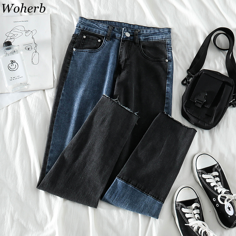 Woherb Vintage Fashion Straight Loose Denim Pants Women High Waist Patchwork Streetwear Trousers Female Casual Korean 91518