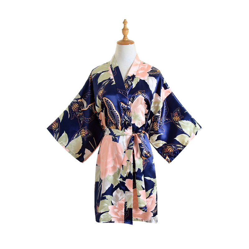 Navy Blue Women Satin Short Nightgown Kimono Robe New Bathrobe Floral Pajamas Wedding Bride Bridesmaid Sexy Dress Gown One Size