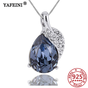 YAFEINI Woman 925 Sterling Silver Leaves Pendant Necklace Crystal Cubic Zircon Jewelry Silver Chain Women 925 Mother's Day Gifts