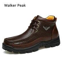עור אמיתי Mens נעלי פרווה קרסול מגפי עסקים חם חורף נעלי שלג Mens אתחול תחרה עד עבודת נעלי זכר קטיפה walkerPeak