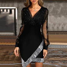 Woman Dress Long-Sleeve -Robe Sequins A-Line Elegant Sexy Ladies Lace Lace