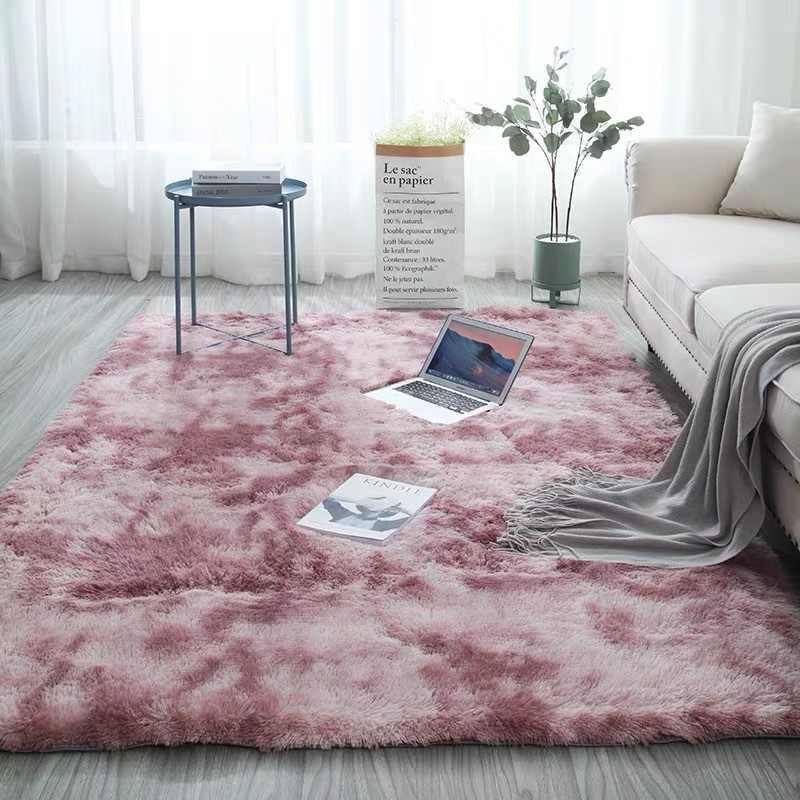 Градиентный однотонный ковер, нескользящий коврик, коврик для гостиной, мягкий пушистый Детский ковер для спальни, Moquette, коврик для гостиной, alfombra