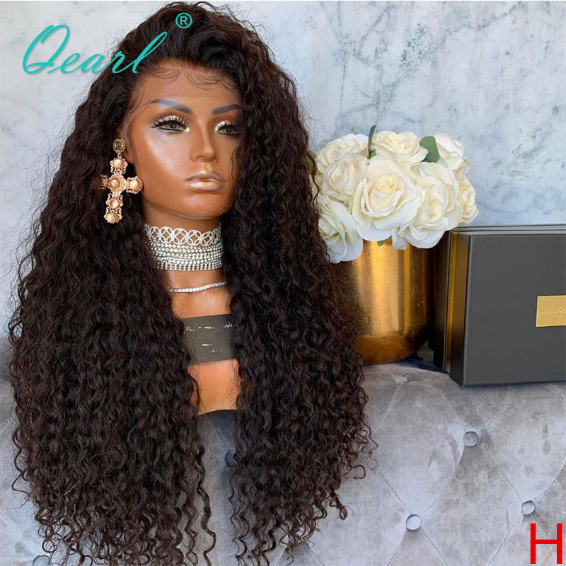Curly Human Hair <font><b>Lace</b></font> Front <font><b>Wigs</b></font> 250% <font><b>300</b></font>% <font><b>Density</b></font> Long <font><b>Wig</b></font> for Black Women Indian Remy Hair 13x4 Preplucked Hairline Qearl image
