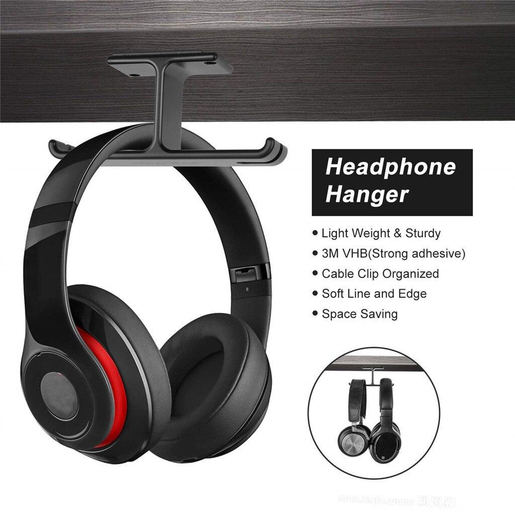 Headphone Stand Hanger Hook Tape Under Desk Dual Headset Mount Holder Black