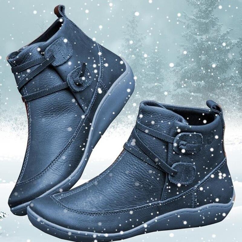 Женские зимние винтажные Короткие Плюшевые ботинки в стиле панк с перекрестными ремешками; женская обувь на плоской подошве; женские теплы...