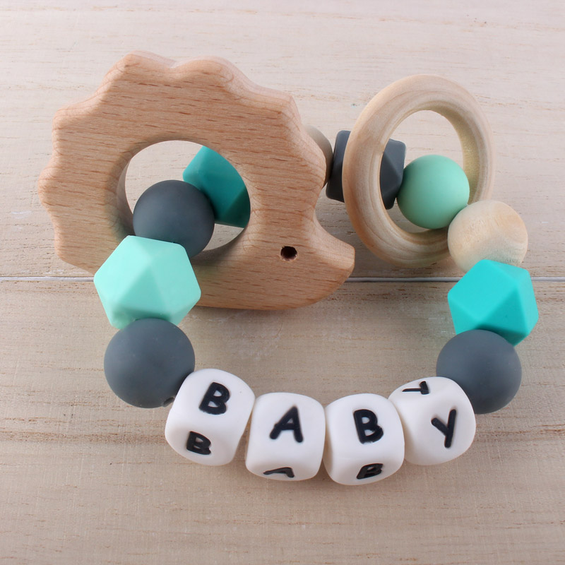 Customized Baby Name Teether Bracelet Ring Cute Beech Wooden Pendant Baby Boy Girl Teething Rattle Shower Gift