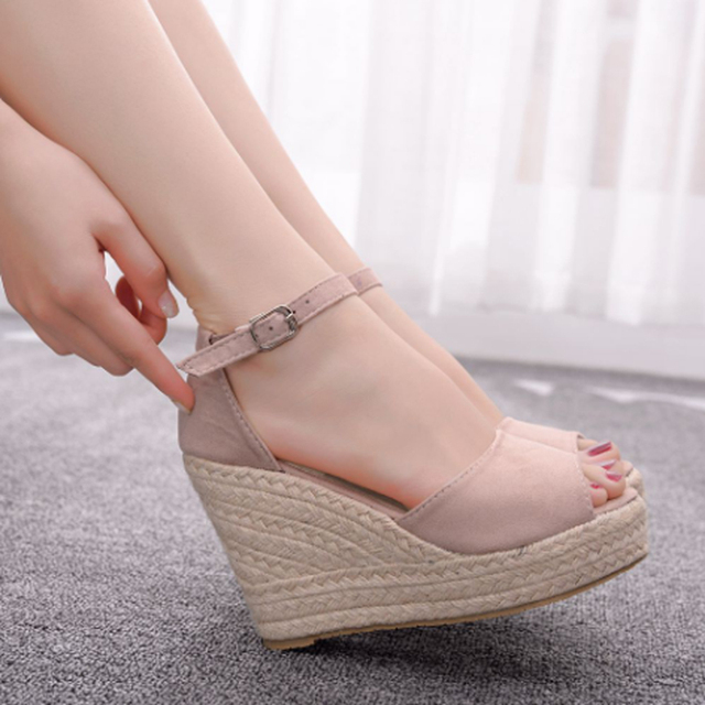 Women's hot style wedge sandals comfortable fish mouth sandals hemp rope high heel fish mouth sandals high heels for women 10cm