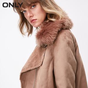 Image 3 - Tylko kobiety zima odpinany kołnierz futro jagnięce podszewka ciepły płaszcz kurtka