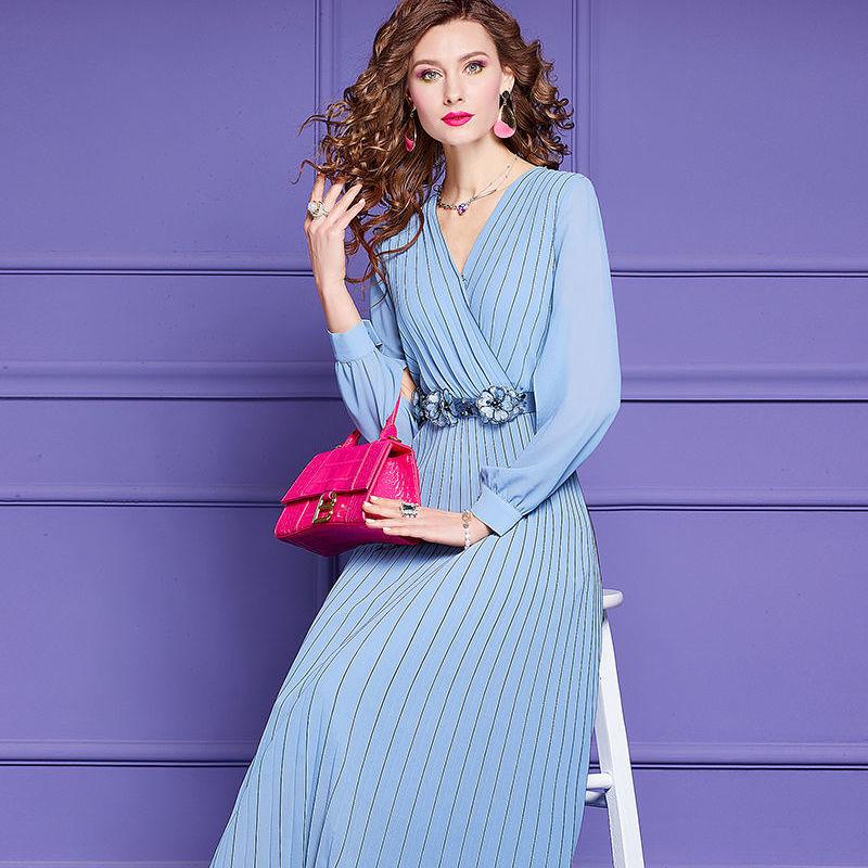 Fashion Dress Spring Women Dress V-neck Split Long Sleeve Beaded Belt Pleated Long Dresses Blue White 8