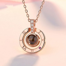купить Valentines day Birthday Gift 100 Languages Says I love You Heart Necklace Christmas Gift For Girlfriend Engagement Present Ring дешево