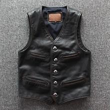 Colete de couro genuíno para motociclista, colete de couro legítimo masculino sem mangas, vintage, casual