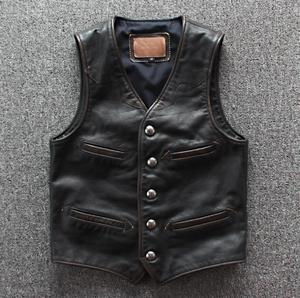 Image 1 - Men Cowhide Genuine Leather Vest  Motorcycle Biker Leather Vests Mens Real Leather Vintage Casual Sleeveless Jackets Waistcoat
