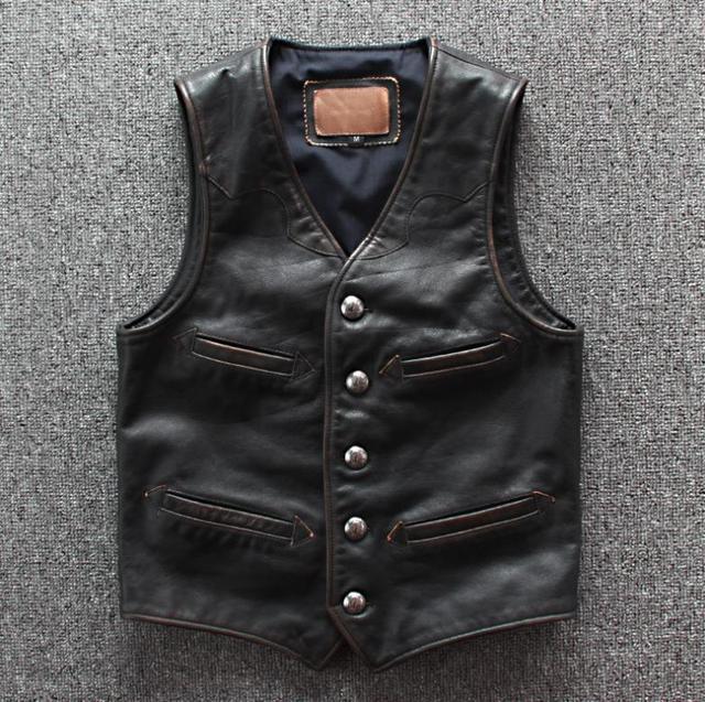 Men Cowhide Genuine Leather Vest  Motorcycle Biker Leather Vests Mens Real Leather Vintage Casual Sleeveless Jackets Waistcoat