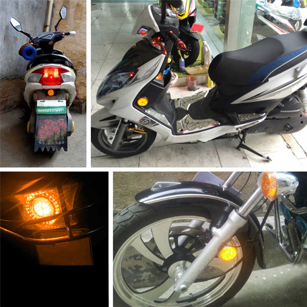 2 uds 42mm Universal LED 12V motocicleta ATV luz trasera freno redondo parada lámpara número placa Reflector redondo luz nueva llegada
