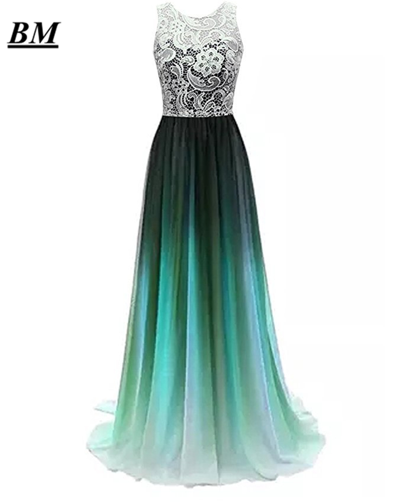 Sexy A-line Ombre Lace Prom Dresses 2019 Chiffon Beading Long Gradient Formal Evening Dress Party Gown Vestidos De Gala BM18